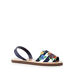 Mantaray - Navy striped floral flat sandals