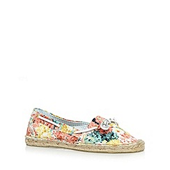 Mantaray - Yellow floral espadrille boat shoes