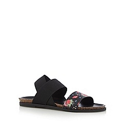 Mantaray - Black floral strap sandals