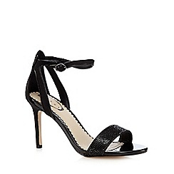 Debut - Black suedette embellished strap high heeled sandals
