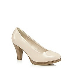 Good for the Sole - Beige patent high wide fit court shoes