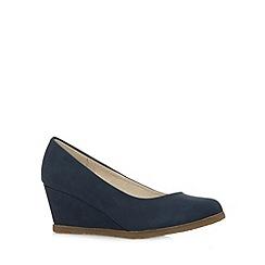 Good for the Sole - Navy plain mid heel wide fit wedged shoes
