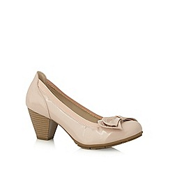 Good for the Sole - Light pink patent dove bow wide fit mid court shoes