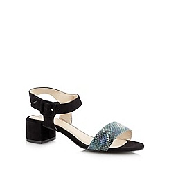The Collection - Black snakeskin strap mid sandals