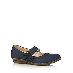 Good for the Sole - Navy 3D flower strap wide fit shoes