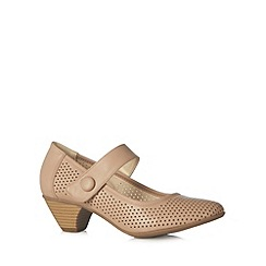 Good for the Sole - Taupe punched mid wide fit court shoes