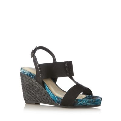 Good for the Sole Black elasticated wider fit high wedges - . -