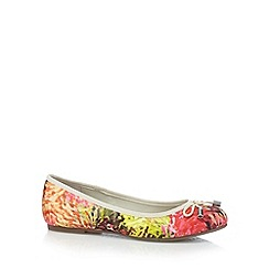 Good for the Sole - Bright pink abstract floral wide fit pumps