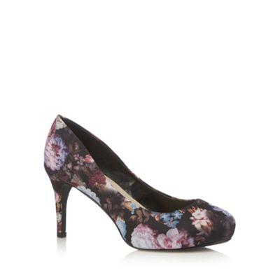 Good for the Sole Black floral platform wider fit high court shoes - . -