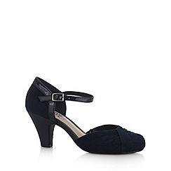 The Collection - Navy patent trim mid wide fit court shoes