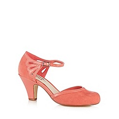 Good for the Sole - Dark peach cutout strap wide fit mid court shoes