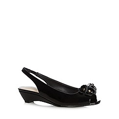 Good for the Sole - Black patent flower trim wide fit mid wedge sandals