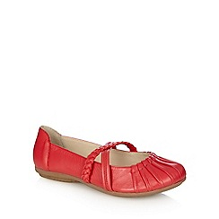 Good for the Sole - Dark peach leather plaited strap wide fit shoes