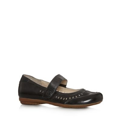 Good for the Sole Black leather cutout wider fit flat shoes - . -