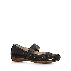 Good for the Sole - Black leather cutout wide fit flat shoes