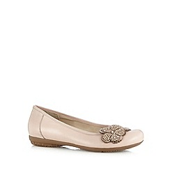 Good for the Sole - Pink leather applique flower wide fit shoes