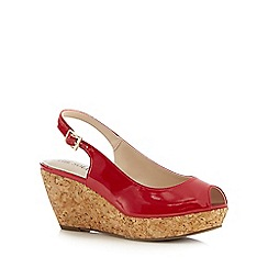 Good for the Sole - Red patent cork wide fit wedge sandals