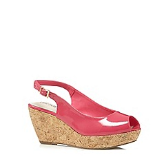 Good for the Sole - Bright pink patent cork wedge wide fit mid sandals