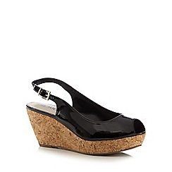 Good for the Sole - Black patent cork wide fit wedge sandals