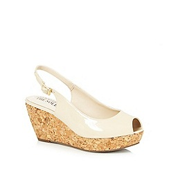 Good for the Sole - Cream patent cork wedge wide fit mid sandals