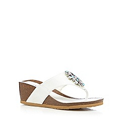 Good for the Sole - White jewel cork wide fit mid sandals