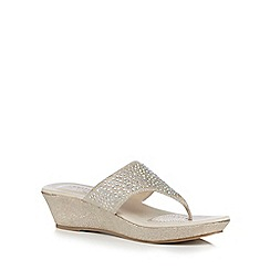 Good for the Sole - Light gold rhinestone embellished wide fit mid sandals