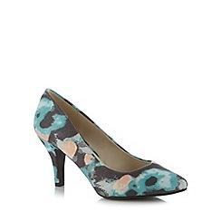 The Collection - Pale blue abstract floral court shoes
