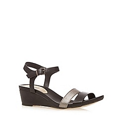 The Collection - Black buckle shimmer mid sandals