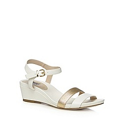 The Collection - White elasticated synthetic strap mid wedge heel sandals