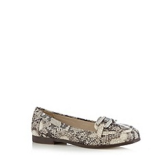 The Collection - Dark cream snakeskin chain trim loafers