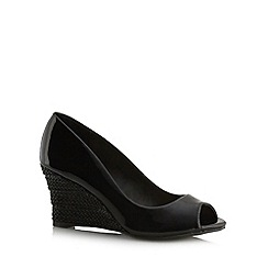 The Collection - Black weave wedge high court shoes