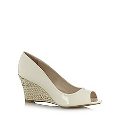 The Collection - Cream patent high wedge court shoes