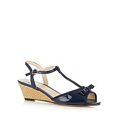 The Collection - Navy patent bow mid wedge sandals