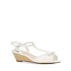 The Collection - White patent bow mid wedge sandals