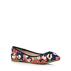 The Collection - Navy floral bow applique flat shoes