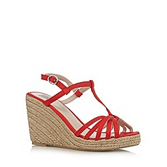 The Collection - Red T-bar strap high wedge sandals