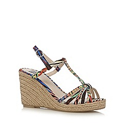 The Collection - Blue palm leaf T-bar strap high wedge sandals