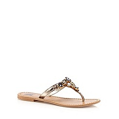 The Collection - Gold leather jewel toe post flip flops