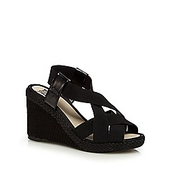 The Collection - Black elasticated textured wedge sandals