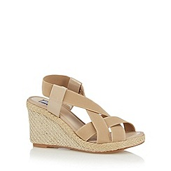 The Collection - Natural elasticated textured wedge sandals