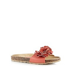 The Collection - Dark peach floral cork sandals