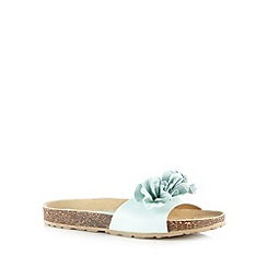 The Collection - Aqua leather floral cork sandals
