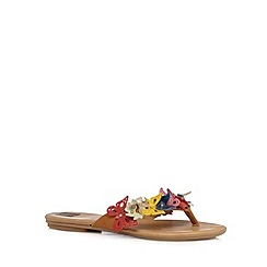 The Collection - Tan leather applique butterfly flip flops
