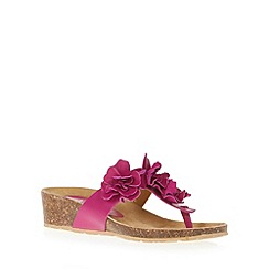 The Collection - Dark pink leather flower applique mid wedge sandals