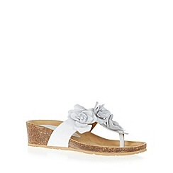 The Collection - White leather flower applique mid wedge sandals