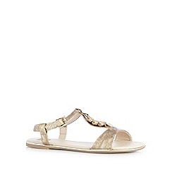 The Collection - Gold snake print flat sandals