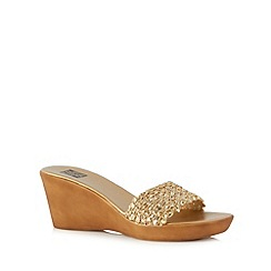 The Collection - Gold sequin wedge mid sandals