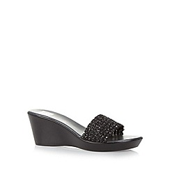 The Collection - Black sequin wedge mid sandals