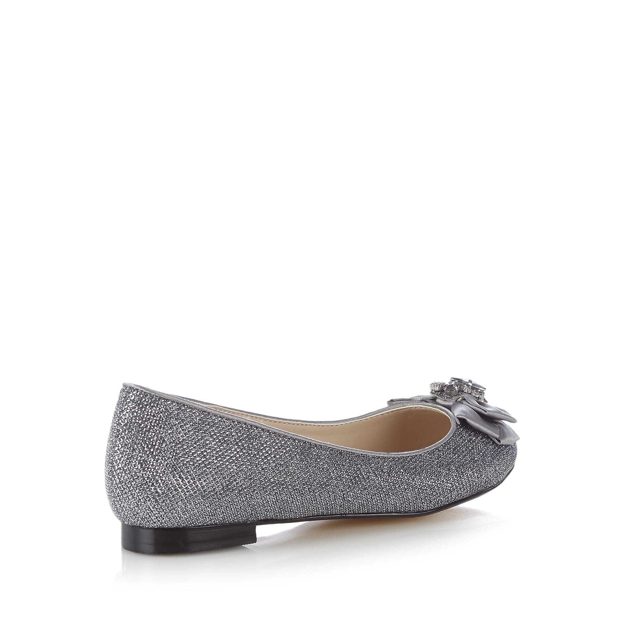 debut womens silver metallic bow shoes from debenhams