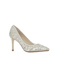 Debut - Ivory web sequin stiletto heel court shoes